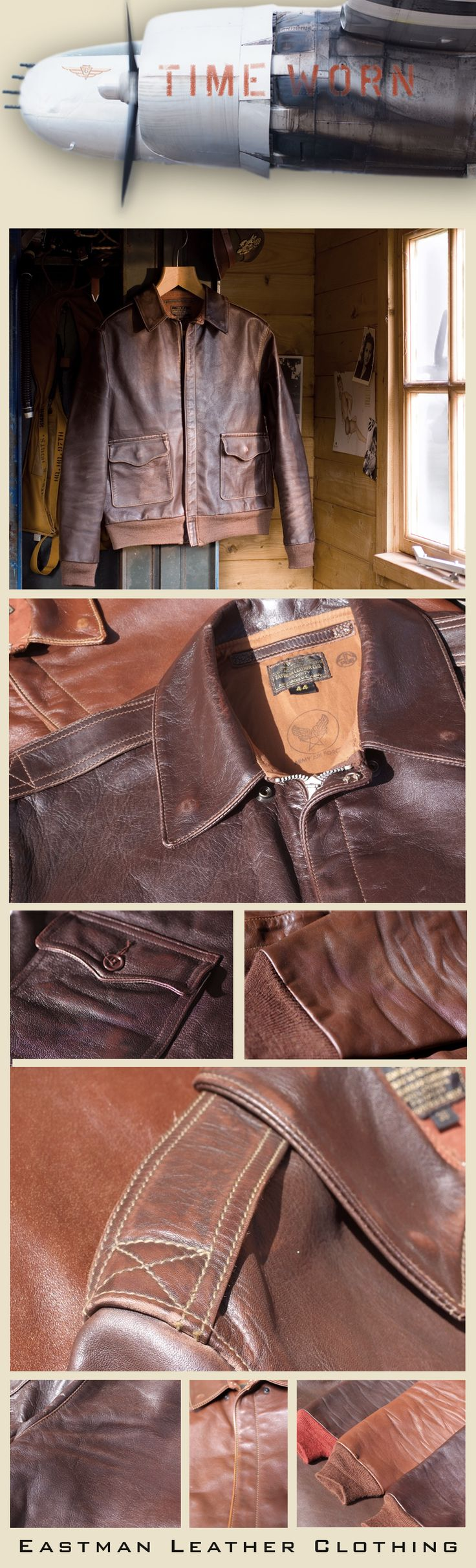 """Eastman Leather Clothing - USAAF A-2 Flight Jacket with """"Time Worn"""" Aging"""