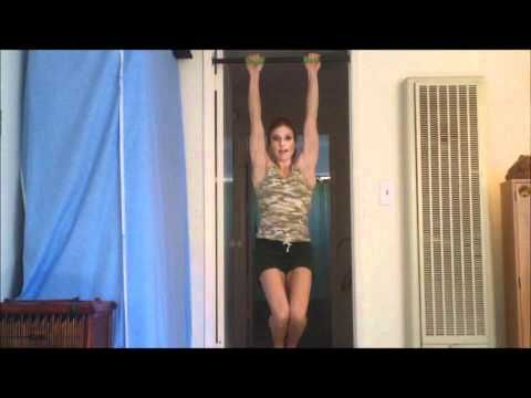 Getting started on the pull-up bar.  ▶ Chin Up Bar Workout For Beginners With Coach Meggin - YouTube