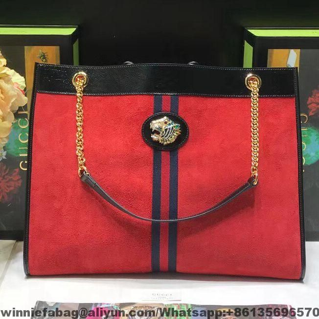 fe6d135d1e0 Gucci Suede Leather Rajah Large Tote 537219