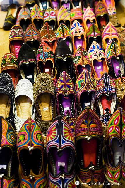 Traditional Rajasthani footwear - I love, love, love the way beauty can be incorporated into life through apparel.