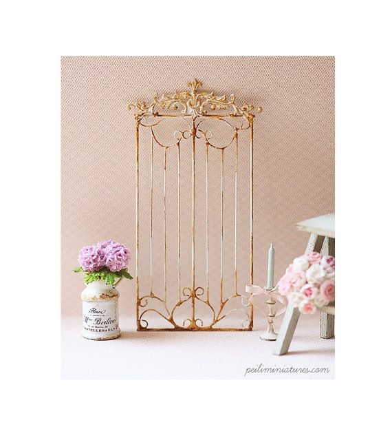 A beautiful french style wrought iron grill fence in shabby white, perfect for dollhouse miniature home decoration use. Handmade lovingly by