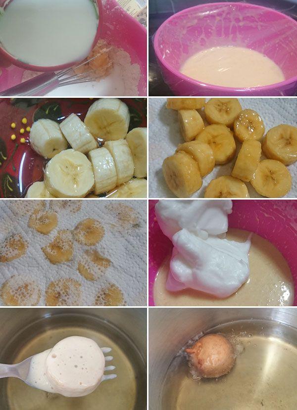Estos buñuelos de plátano resultan unos bocaditos dulces deliciosos. Son fáciles de preparar y se pueden acompañar con un hilo de miel a la hora de servir.