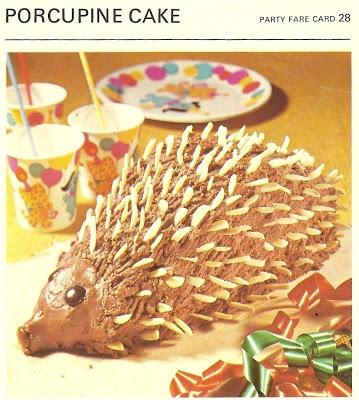 Porcupine Cake (Marguerite Patten's Recipe Cards, 1967)
