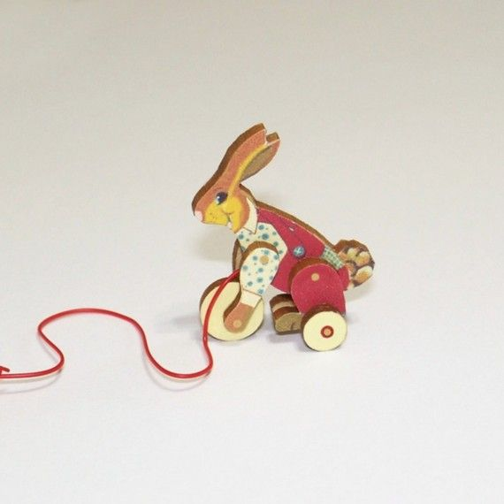 Hunny Bunny Pull Toy KIT Miniature Dollhouse by TwelfthDimension, $8.35
