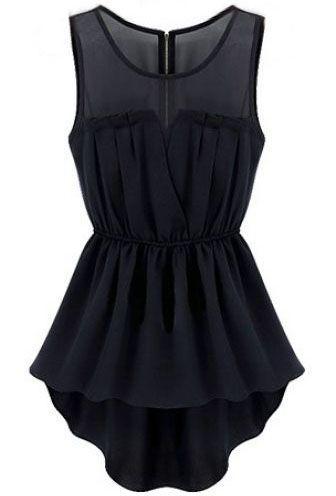 Black Sleeveless Back Zipper Bandeau High Low Dress EUR€19.56