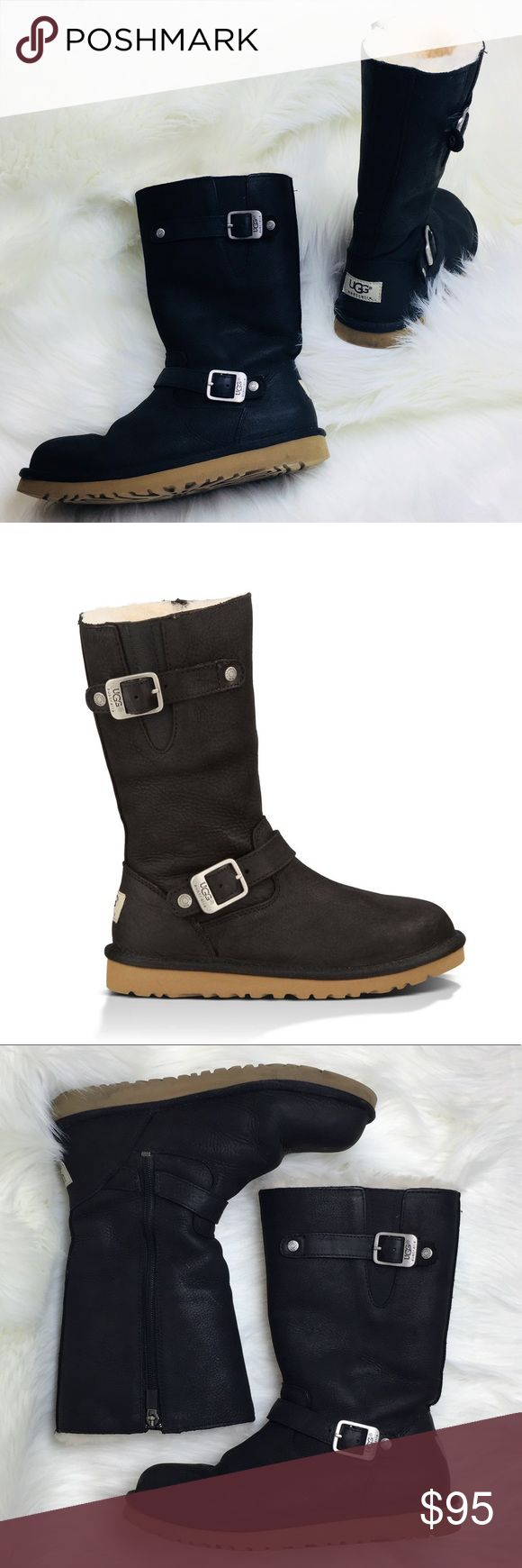 """Black UGG Kensington Winter Boots (Y5 / W7) Very good condition! Only slight signs of wear. Tag says US size youth 5, UK 4, EU 35. UGG's conversion to women's size is women's 7. They are 10.75"""" in sole length. Super soft genuine sheepskin lining with a leather upper. Eva outer sole.               #194-SW22 UGG Shoes Winter & Rain Boots"""