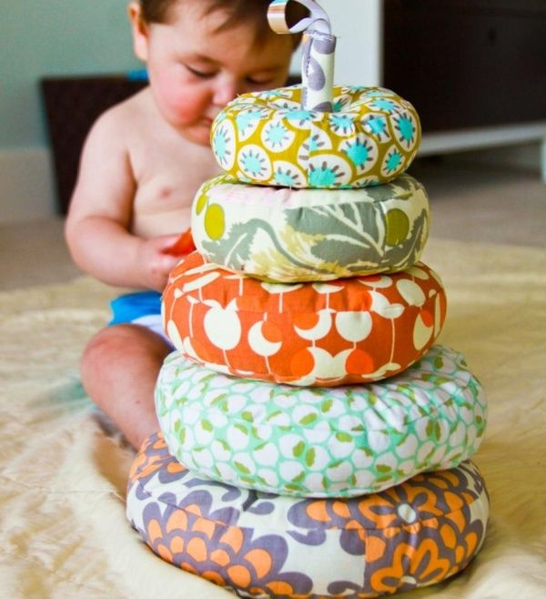 Homemade baby toy stacker! Choose the fabric, sew it, then stuff it with cotton :) LOVE!