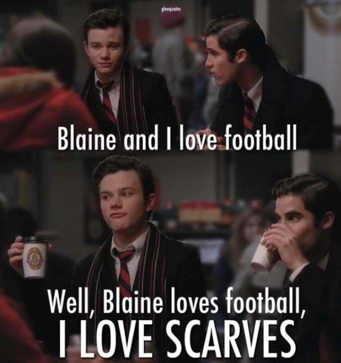 "Blaine's face when Kurt says they both love football (""The Sue Sylvester Shuffle"")"
