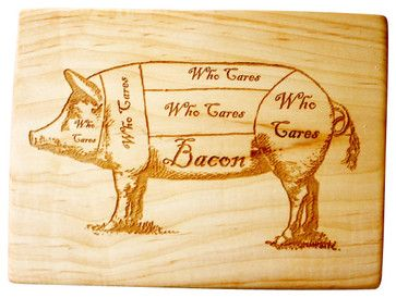 Bacon Pig Diagram Handmade Wooden Cutting Board - contemporary - Cutting Boards - Milk & Honey Luxuries