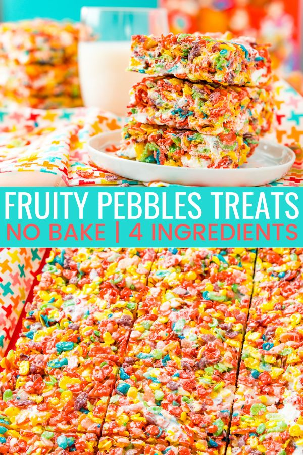 These Fruity Pebbles Treats are a fun and fruity twist on the classic no-bake de…