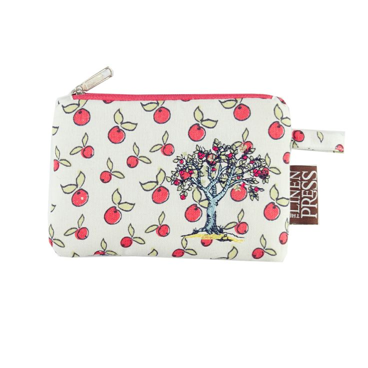 Australian Certified Organic cotton purse. Designed in Australia. Printed with water based dyes. Machine embroidered apple tree with apple repeat print on one side and chicken repeat print on the other. Design features chickens, eggs and farmyard scene. #chickens #certifiedorganic #gifts