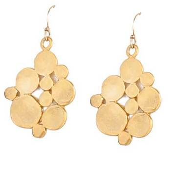 gold flat coin cluster earrings by alicia harding