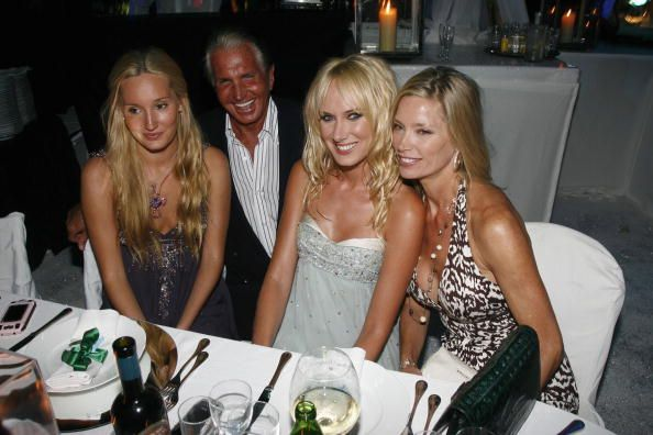 Kelly Emberg with daughters Kimberly and Ruby and Goerges Hamilton attend the Fawaz Gruosi Birthday Party at the Billionhaire on August 8 2006 in...