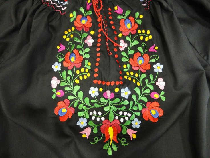"Traditional, handmade #embroidered woman #blouse, baggy sleeves, ""matyó"" rosy pattern, black base and colorful embroidery - See more at: http://www.itshungarian.com/hungarian-gifts-products-store/blouses/traditional-handmade-embroidered-woman-blouse-baggy-sleeves-matyo-rosy-pattern-black-base-colorful-embroidery/#sthash.Ww0HIafQ.dpuf"