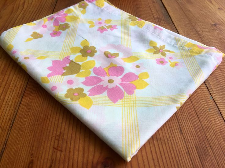 Excited to share the latest addition to my #etsy shop: Vintage Pillowcase-Vintage Pillowslip-Floral Pillowslip-1970's-Pink and Yellow Floral Pillowcase-Pillowslip Dress-Vintage Sewing.