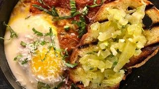 MARIO BATALI Eggs In Hell with Green Tomato Bruschetta Recipe | The Chew - ABC.com