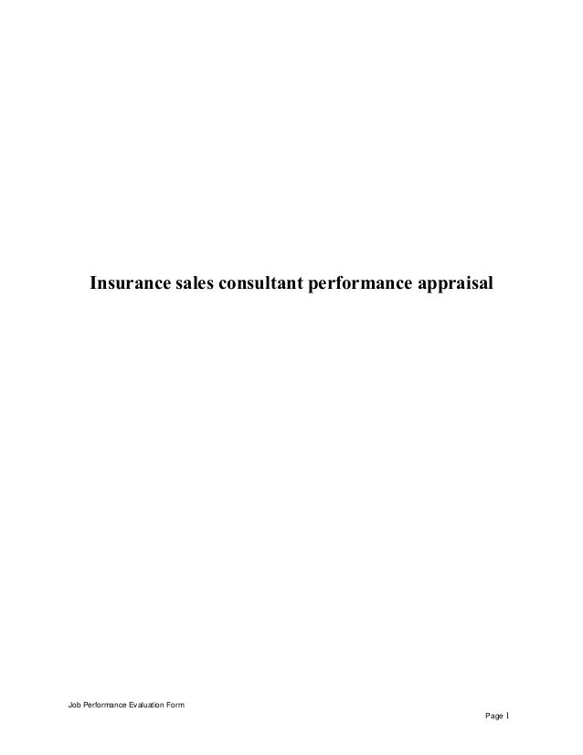 Insurance Sales Consultant Performance Appraisal Job Performance