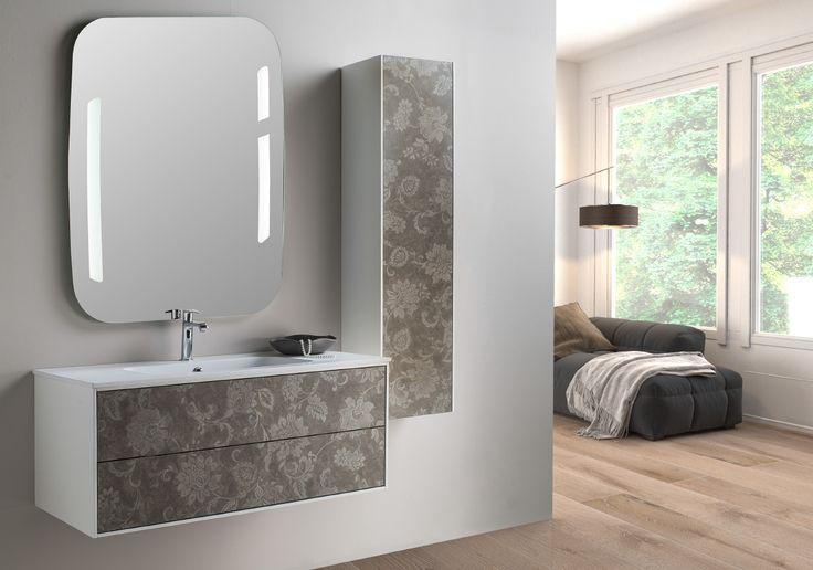 Serie Parigi modello cm 105 con frontale con fantasia floreale su effetto pelle . Euro Bagno arredobagno e Mobili da bagno bathroom furniture since 1973.