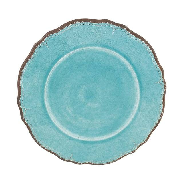 Inspired by the casual beauty of Mediterranean ceramics, the Antiqua Melamine Dinnerware provides great basic pieces to mix and match with your favorites.    Crafted of durable, lightweight melamine, each piece is shatterproof, food and dishwasher safe.            100% melamine                Suitable for indoor or outdoor use                Shatterproof and food-safe                Dishwasher safe                In Turquoise and White