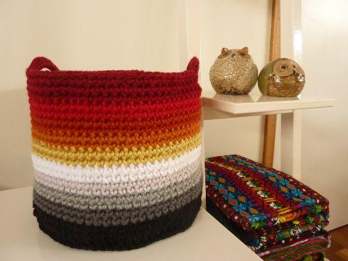 Crocheted Sunset Ombre Basket http://www.ravelry.com/projects/vickys22/ombre-basket #ravelry #spotlight40