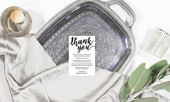 Boho thank you card, Wedding thank you card template, Printable thank you card wedding, Black and white thank you cards, Editable pdf card
