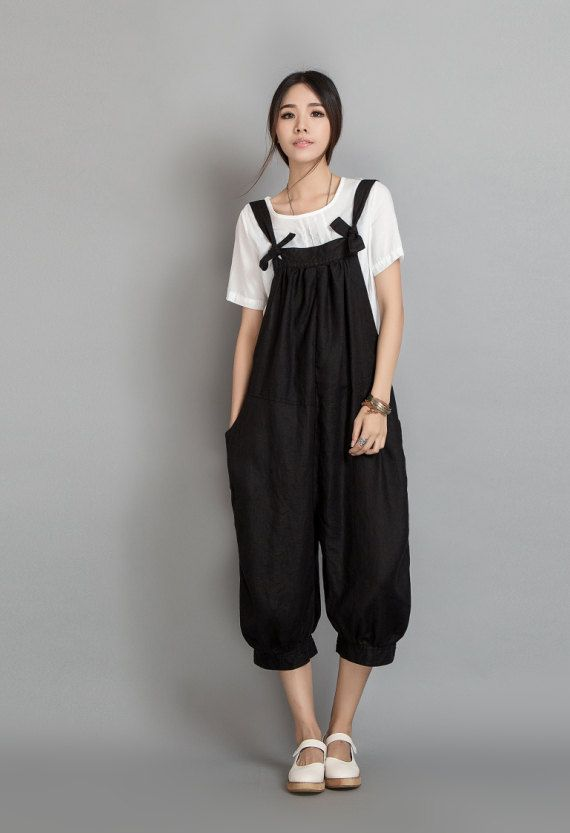 Wide Leg Pants Linen Overalls In Black11180600 by Lantingstyle