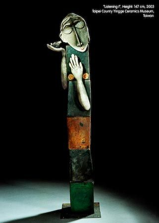 Listening I by Ute Grossmann, german artist she was born in 1960 in Dresden. Raku, H.: 147 cm, 2003 Taipei County Yingge Ceramics Museum, Taiwan