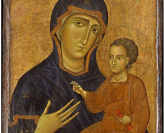"""Madonna and Child     Berlinghiero  (Italian, Lucca, active by 1228–died by 1236)   this painting may date to the 1230s and is one of only two works that can be confidently assigned to Berlinghiero, the leading painter in Lucca  New York. The Metropolitan Museum of Art. """"Florentine Paintings in the Metropolitan Museum,"""" June 15–August 15, 1971"""