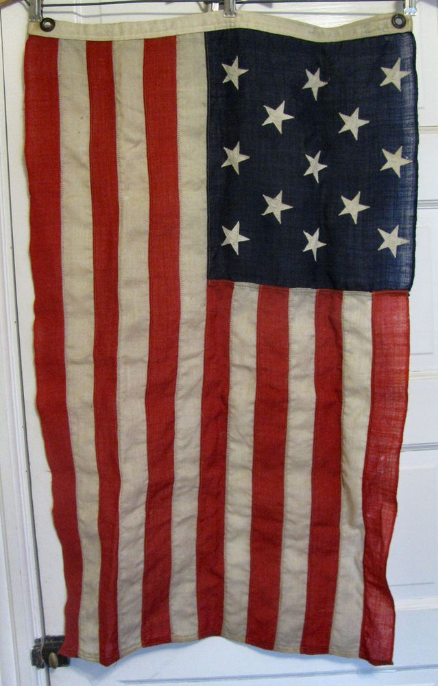 Antique 13 Star 3-2-3 US AMERICAN FLAG 2x3'small yacht boat sewn wool vtg estate