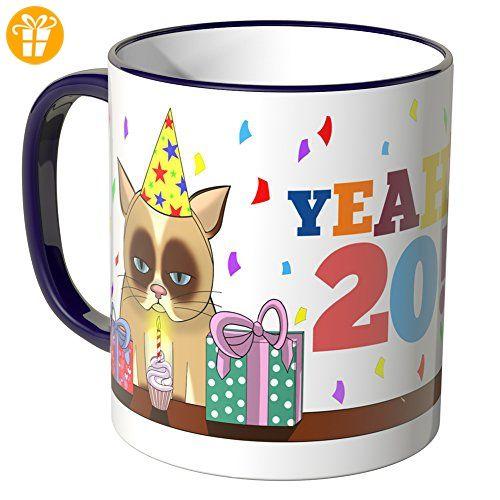wandkings® tasse schriftzug yeah 20 mit süßem kätzchen