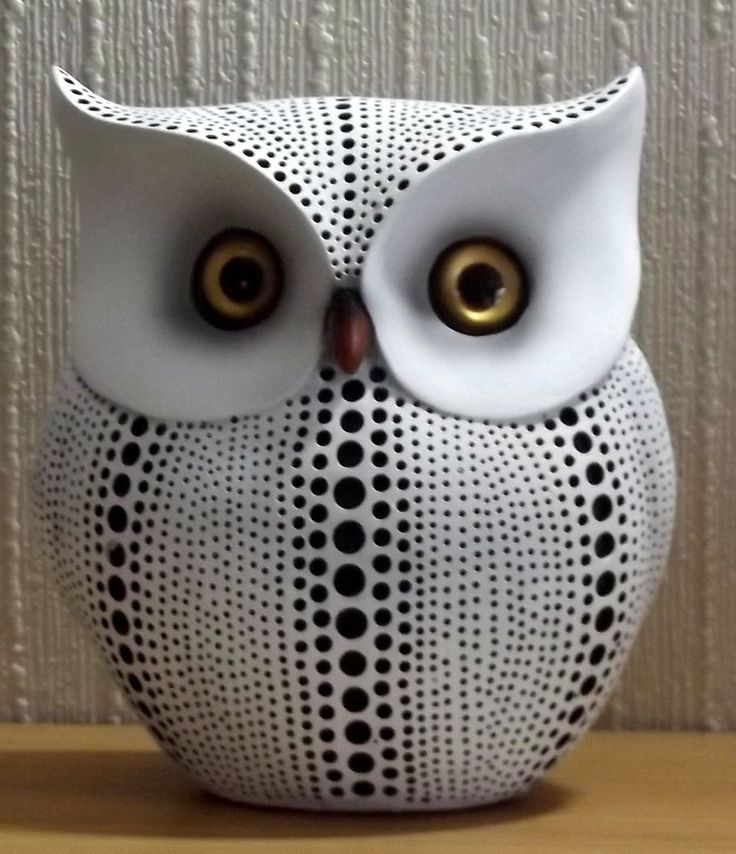 Owl Figurine by Shudehill Giftware, Coral Spot Wide Owl in Collectables | eBay