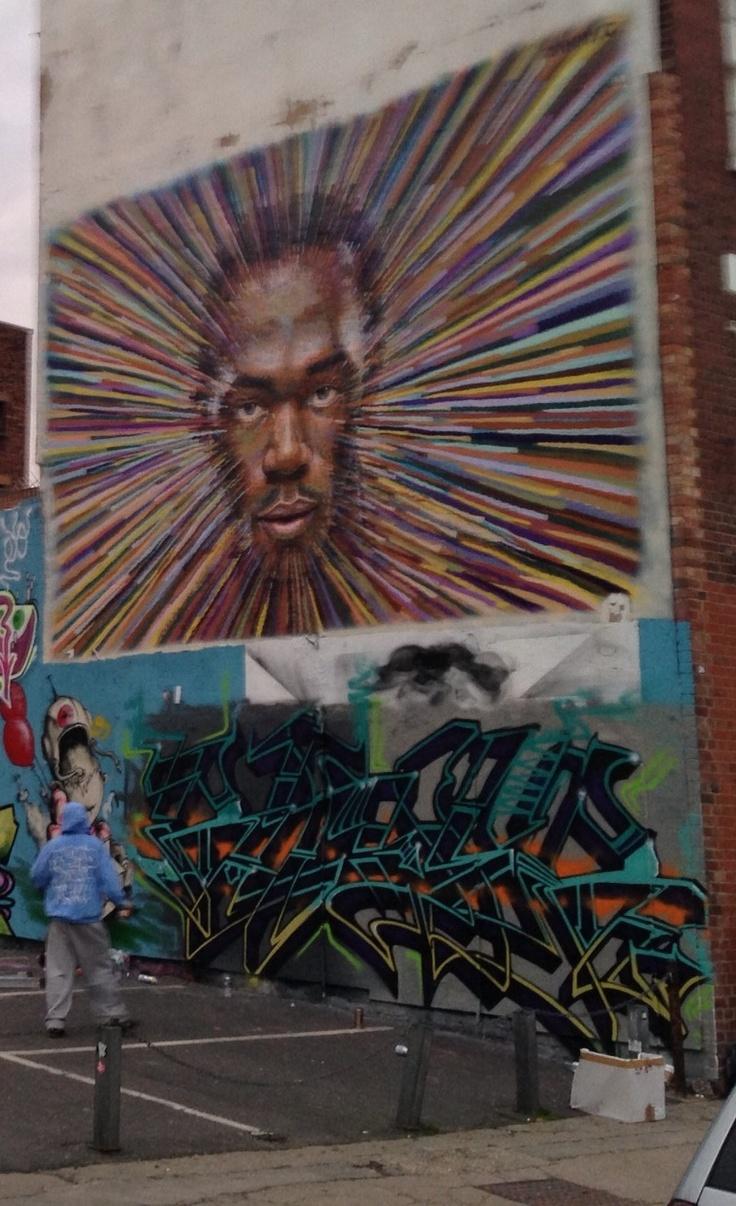 Impressive Usain Bold street art in East London