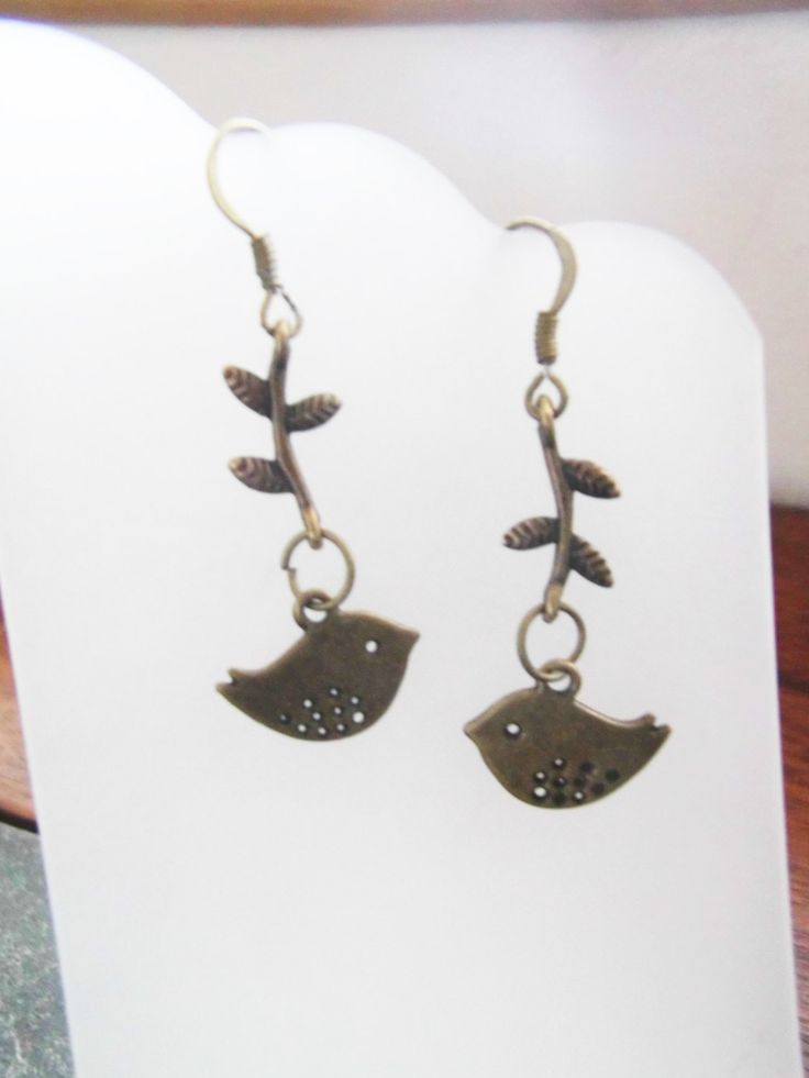 Bronze Birds Dangle Earrings, Bronze Birds on Bronze Branches, All Bronze Jewelry, Nature Inspired Jewelry by TerriJeansAdornments on Etsy