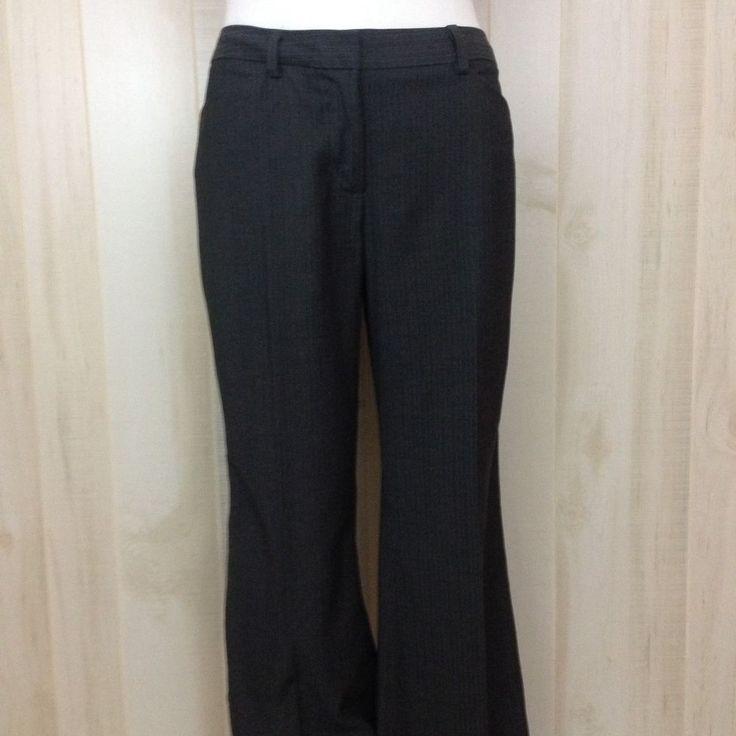 Max Studio Women's Wide Leg Trouser Pants Charcoal Gray Pinstripe Career Size 12 #MaxStudio #DressPants