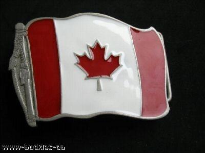 CANADA MAPLE LEAF HOCKEY FLAG BELT BUCKLE BEER OPENER