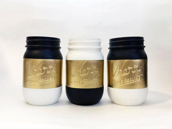 Gold White Black Theme Painted Mason Jars Wedding by HuggyBuddy