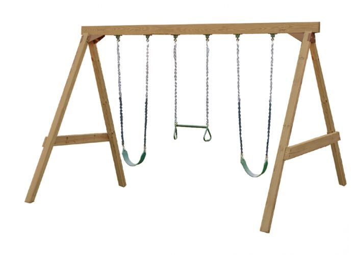 If you'd like to build your own swing set, you can download free plans for eight different swing sets.