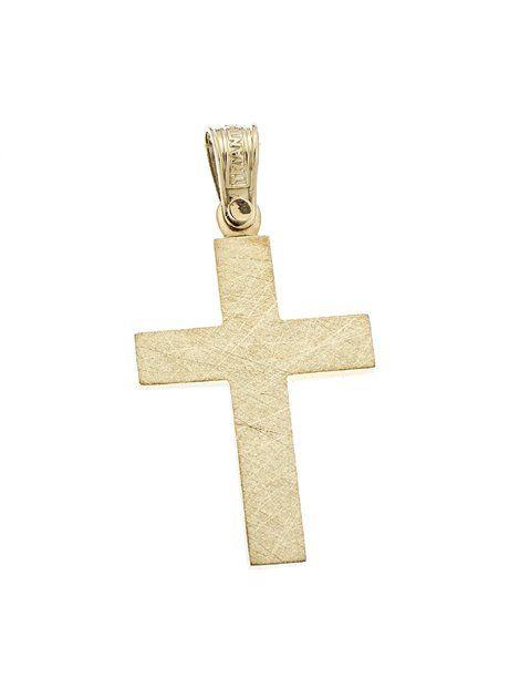 Σταυρός Βαπτιστικός Τριάντος Χρυσός Κ14 Αναφορά 021021 Σταυρός βαπτιστικός του οίκου Τριάντος, που μπορείτε να χαρίσετε σε ένα αγόρι ή άνδρα από Χρυσό 14Κ σε κίτρινο χρώμα.Ο σταυρός μπορεί να συνδυαστεί είτε με αλυσίδα Χρυσή είτε με δερμάτινο κορδονάκι στο χρώμα της αρεσκείας σας.