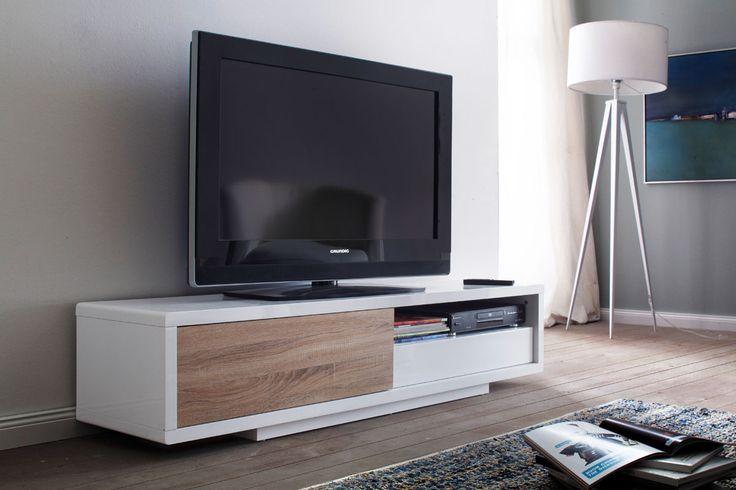 Vente Intérieur Contemporain / 14767 / Séjour / Meubles TV / Meuble TV porte coulissante - Blanc laqué et imitation chêne