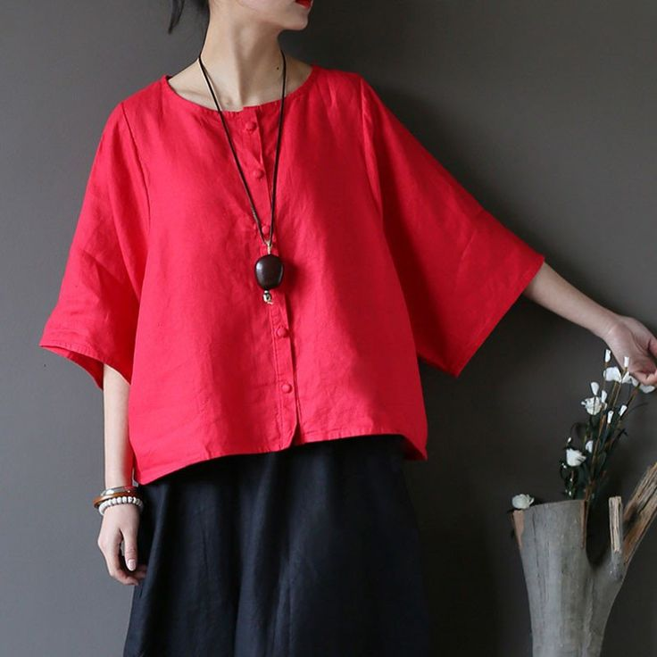 Vintage Linen Distressed Round Neck Women Red Shirt – Buykud
