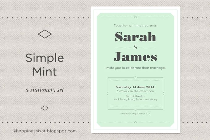 Simple Mint - a wedding stationery set by Happiness is...