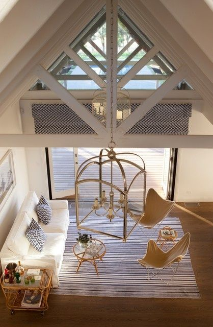 Florida Gulf Coast Beach House Living Room with Rafters