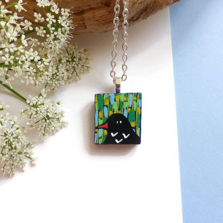Blackbird Pendant Necklace, Hand Painted Jewelry, Wood Jewellery, Handmade Necklace, Bird Jewellery, Bird Lovers Gift, Wearable Art Pendant