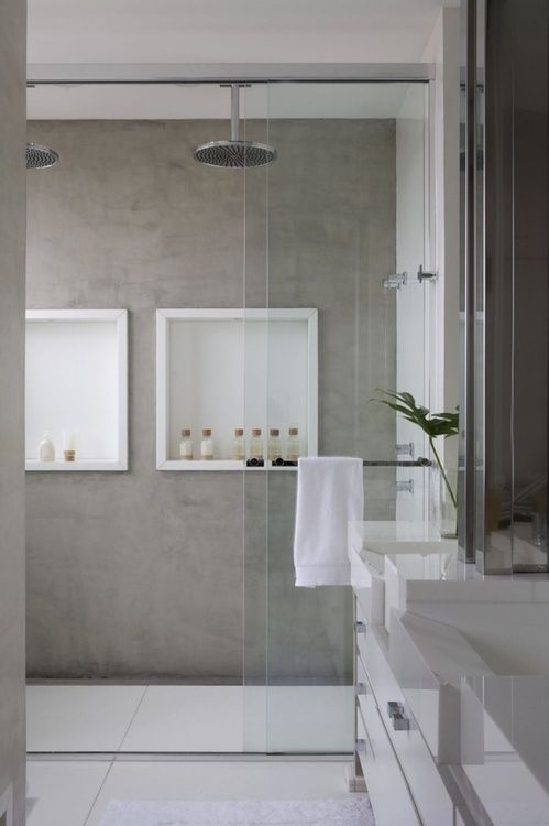 walk in shower, dual rain shower heads, white inset shelves