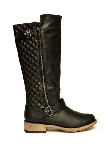 Magdalena Quilted Riding Boot in Black