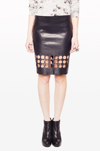 Lounge Punched Leather Skirt