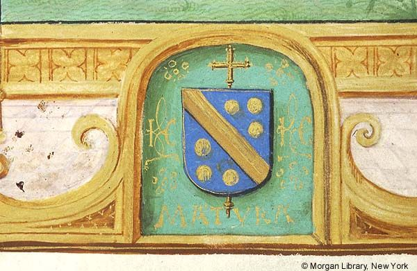 Escutcheon with arms of Jean Carondelet (azure a fasce and six bezants or en orle, an archiepiscopal cross in pale beneath the shield), with the motto MATURA | Book of Hours | Belgium, Bruges | ca. 1500 | The Morgan Library & Museum