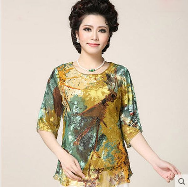 New Mother Summer Short Sleeves Silk T-Shirt Middle-Aged Women Round Neck Flower Patchwork Chiffon Large Size T Shirt 4Xl S2507