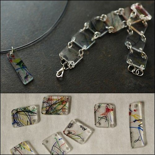 """DIY Recycled Shrink Plastic Take Out Container Jewelry. Instead of paying for shrink plastic sheets, use #6 plastic (think temporary plastic containers from your supermarket). Tutorial from Rust & Sunshine here.As the author of the tutorial writes, this would make a nice Mother's Day present:    """"Attention Dads: This project involves permanent markers, melting plastic, and tools…and your kids will think it's totally cool"""""""