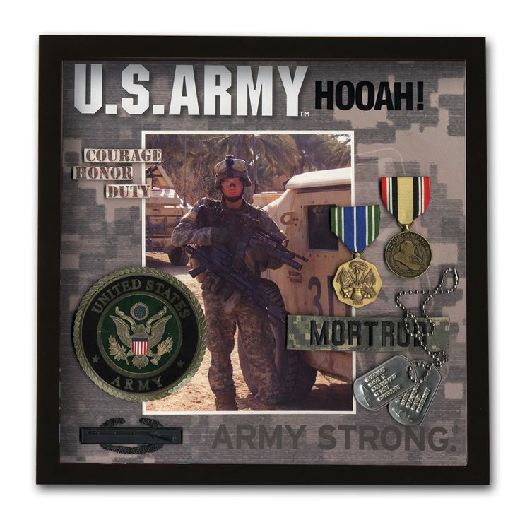Army Shadowbox Frame -- pic of Danny in boys room? Just need shadow box frame + ACU scrapbook paper!